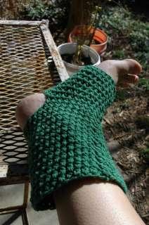 Med Green Yoga Pilate Socks Toeless Heelless Pedicure Crochet Cotton