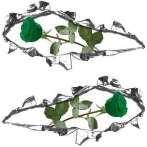 Ripped / Torn Metal Look Decals with Green Rose   6 h x