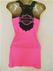 HARLEY DAVIDSON M HOTT Neon Pink Tank Top Black Sheer Back M NEW