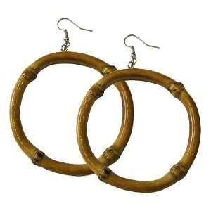 Elegant Glossy Bamboo Hoop Earring