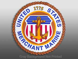 US Merchant Marine Seal Sticker  logo window decal 1775