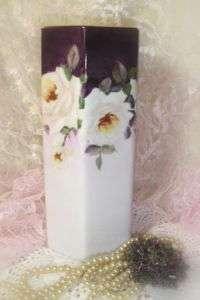 Porcelain Vase HP White Roses Romantic Cottage Chic