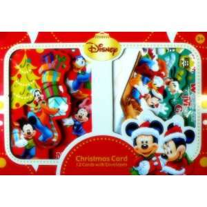12pcs Disney Mickey Minnie Mouse Christmas Card with