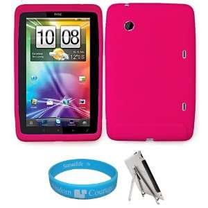 Hot Pink Premium Soft Silicone Skin Cover for HTC Flyer