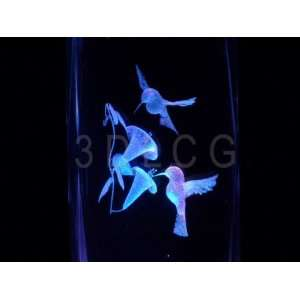 Humming Birds 3D Laser Etched Crystal S2