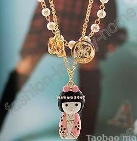 fashion imitate crystal pearl lovely doll gold plated Necklace Pendant