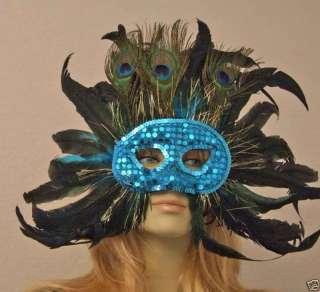 BRIGHT BLUE SEQUIN Halloween Mask Masquerade COSTUME