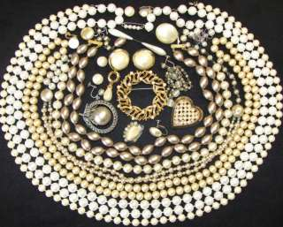 VINTAGE JEWELRY REPAIR LOT FAUX PEARL BEAD NECKLACE MARVELLA NAPIER