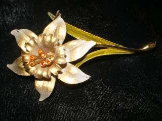 VTG Enamel Flower Power Daffodil Rhinestone Brooch Pin