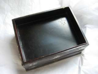 OLD CHINESE BOXES, LACQUERED WOOD BOX W MOP & WOOD JEWELRY BOX |
