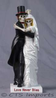 Love Never Dies Tango Wedding Skulls Bride & Groom Cake Topper Bridal