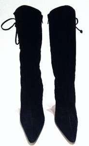 Manolo Blahnik Sz 41/11 Black Suede Lace Up Boots