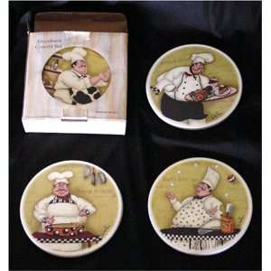 Chefs Best Friend Coaster Set   with the FAT CHEF s