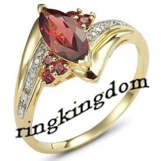 Fancy womans Red Garnet 10KT yellow Gold Filled Ring #8 R661G