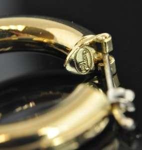 Lebo Italian Estate Vintage 18K Yellow Gold Green Enamel Hoop Earrings