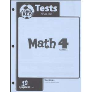 Math 4 Tests Answer Key (9781591668978): BJU Press: Books