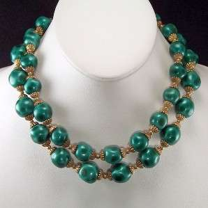 LUXE Emerald Green 2 Strand Glass Beaded Gold Choker NECKLACE