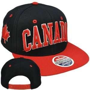 Canadian Maple Leaf Black Red Flat Bill Hat Cap