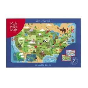USA Map & World Map Placemat Gift Set Toys & Games