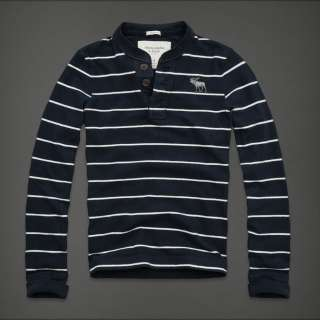 NEW Abercrombie & Fitch MENS Henley Navy stripes long sleeve TEE shirt