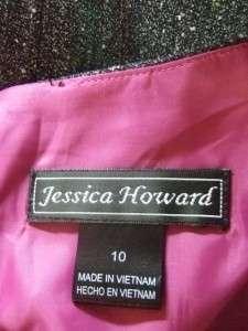 JESSICA HOWARD black white tweed VERSATILE dress w. BLACK JET BEADS $