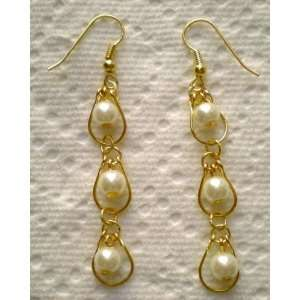 Glass Pearl Drop in Drop Earrings.~Jewelry Making~ Arts, Crafts