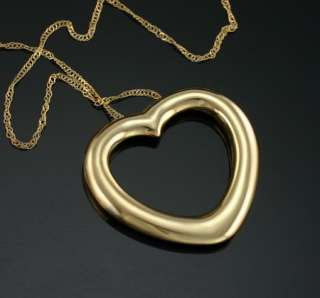 New 10K Yellow Gold 26 mm Open Heart Slide Pendant Chain Necklace