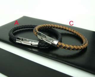 Men/Womens Braided Leather Bracelet Woven Wristband Leather Cuff