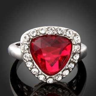 Swarovski Crystal Ruby Heart Gem Gold GP Fashion Rings