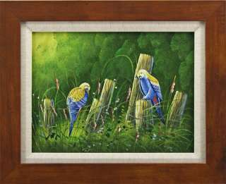Blue Yellow Birds Fence Tall Grass Bird Portraits Art FRAMED OIL