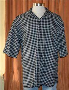 SEAN JOHN SHORT SLEEVE BLACK WHITE 100% COTTON CHECKERED SHIRT MENS