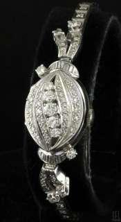HAMILTON 14K WHITE GOLD ELEGANT 2.04CT DIAMOND FLIP TOP LADIES WATCH