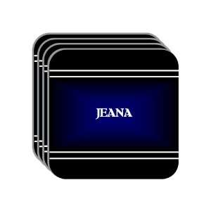Personal Name Gift   JEANA Set of 4 Mini Mousepad Coasters (black