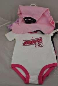 NWT NIKE AIR JORDAN INFANT 5 PK BODYSUITS BABY GIRL SIZE 9/12 MONTHS