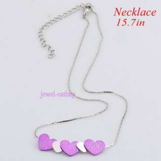 Silver purple heart love valentines gift pendant chain necklace free