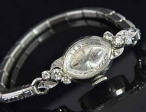 Antique Estate Vtg Jules Jurgensen 14K White Gold Diamond Ladies