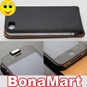 Genuine Flip Leather Case Cover For iPhone 4 4G Black
