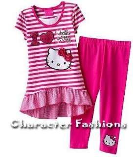 HELLO KITTY Outfit Top Leggings Set Size 4 5 6 6X Shirt Pants STRIPED