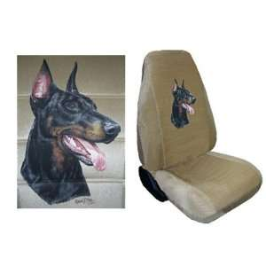Car Truck SUV Dorberman Pinscher Dog Print Seat Covers 2 Tan Universal