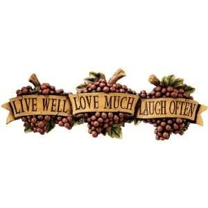 Kitchen Grapes Live Love Laugh Wall Sculpture Décor
