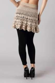 Boho Hippie Southwestern Crochet Fringe Knit SKIRT Khaki L*