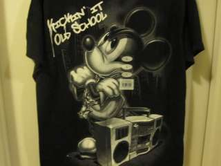 Disney Mickey Mouse Kickin it Old School T Shirt RARE L Large New