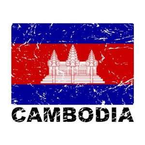 Cambodia Vintage Flag Refrigerator Magnets: Home & Kitchen