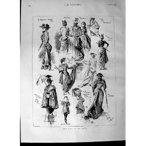 1892 Ladies Fashion Coats Dresses Umbrella Old Print