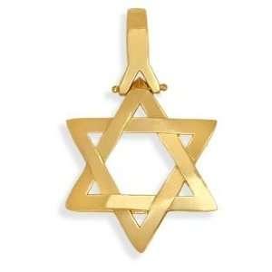 High Polish Yellow Gold Star of David Jewish Pendant with 16 Chain