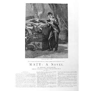 1885 ILLUSTRATION STORY MATT MAN READING BOOK FINE ART