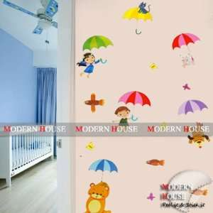 House Kids with Umbrella removable Vinyl Mural Art Wall Sticker Decal