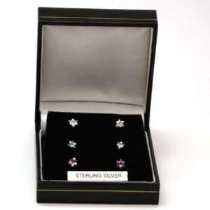 TOC Set Of Three 925 Silver Star Shaped Earrings (4mm) Jewelry