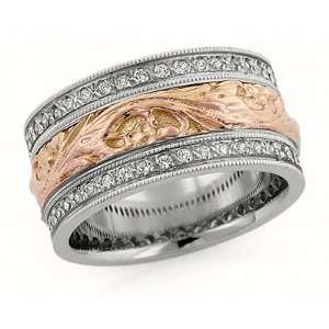 00 Millimeters White and Rose Gold Diamond Wedding Band Ring 14Kt Gold