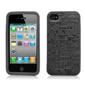 Black Building Soft Silicone Laser Cut Skin for Apple iphone 4 / 4S At